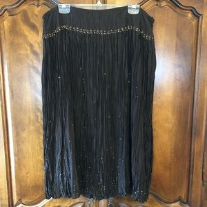 Talbots brown crinkle silk lined skirt 20WP